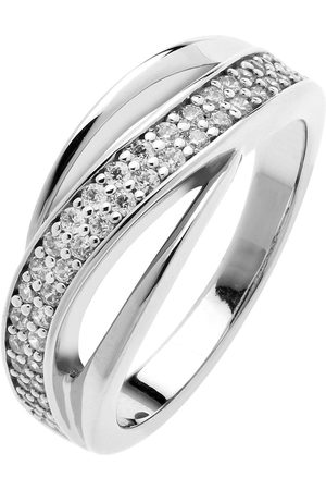 The Love Silver Collection Rhodium-Plated Sterling Twisted Triple Band Cubic Zirconia Ring