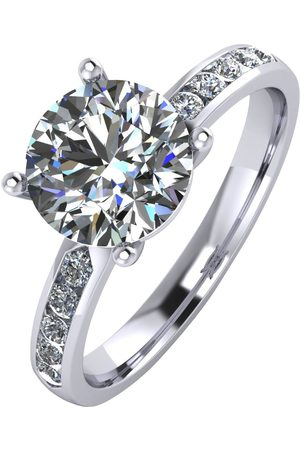 Moissanite 2.3 Carat Solitaire Ring With Stone Set Shoulders