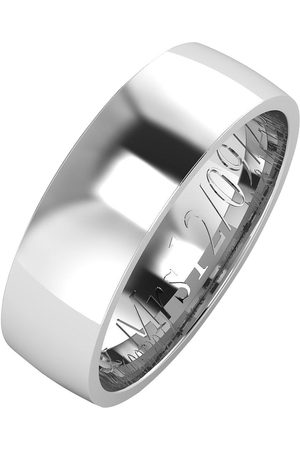 The Love Silver Collection Personalised Argentium Wedding Band 6Mm