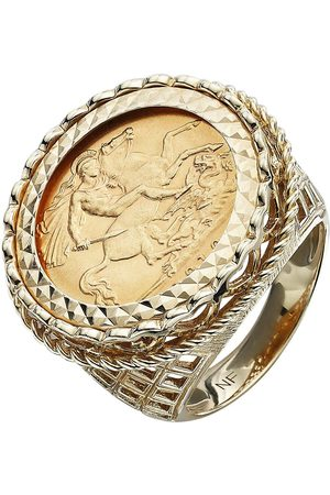 Love GOLD 9 Carat Half Sovereign Mens Ring