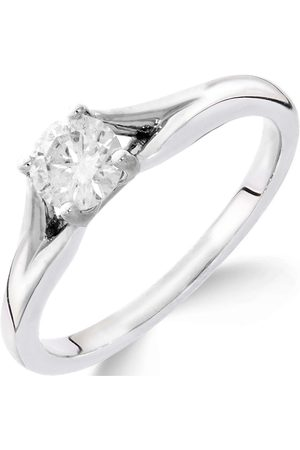Love Diamond 9Ct White Gold 1/4 Carat Diamond Solitaire With Tapered Shoulders Ring