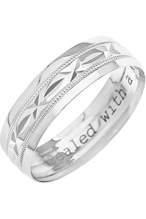 Love GOLD 9Ct White Gold Diamond Cut 6Mm Wedding Band With Message 'Sealed With A Kiss