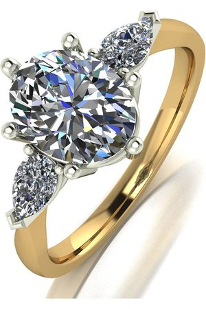 Moissanite 9Ct Gold 2.5Ct Eq Total Oval And Pear Shaped Trilogy Ring