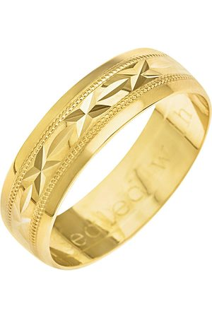 Love GOLD 9Ct Yellow Gold Diamond Cut 6Mm Wedding Band With Message 'Sealed With A Kiss