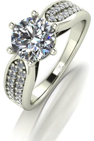 Moissanite Lady Lynsey 9Ct Gold 1.75Ct Total Round Brilliant Solitaire Ring With Stone Set Shoulders