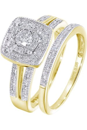Love Diamond 9Ct Yellow Gold 50 Point Diamond Square Set Split Shoulder Bridal Set Of Two Rings