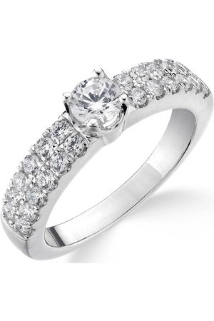 Love Diamond 9Ct 1 Carat Two-Row Diamond Solitaire Ring With Set Shoulders