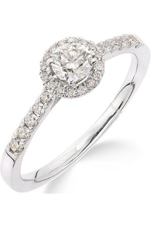 Love Diamond Rings - 9Ct Gold 50 Points Total Diamond Halo Ring