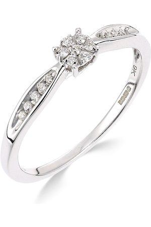 Love Diamond 9Ct White Gold 10 Point Diamond Cluster Ring