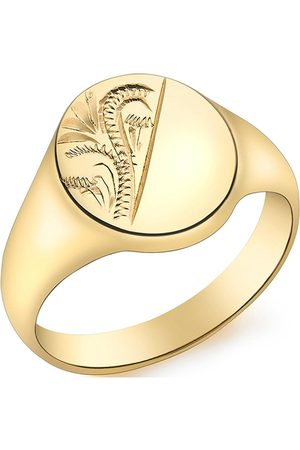 Love GOLD 9Ct Oval Half Engraved Pattern Signet Ring