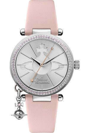 Vivienne Westwood Orb Pastelle Silver Crystal Set Dial With Orb Charm Pink Leather Strap Ladies Watch