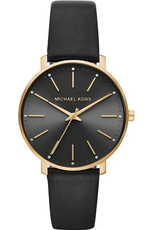 Michael Kors Mrcjn Pyper Gold Tone Black Leather Strap Ladies Watch