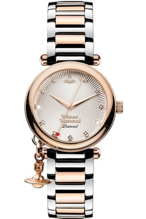 Vivienne Westwood Orb Diamond Rose Gold Textured And Diamond Set Dial With Charm Two Tone Stainless Steel Bracelet Ladies Watch