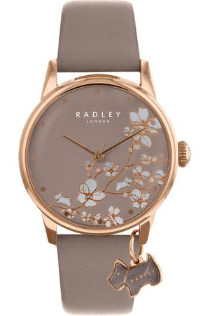 Radley Ry2690 Taupe Floral And Rose Gold Dog Charm Dial Taupe Leather Strap Ladies Watch