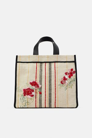 Zara Embroidered fabric tote bag