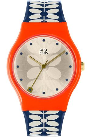 Orla Kiely Bobby Champagne And Pink Dial Blue And White Stem Print Silicone Strap Ladies Watch