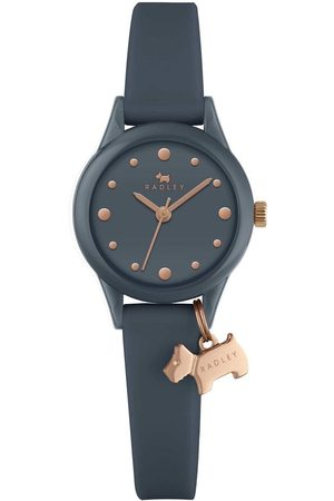 Radley Women Watches - Watch It! Navy And Rose Gold Dog Charm Dial Navy Silicone Strap Ladies Watch