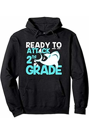 Envy Design Back To School Apparel Attack 2nd Grade Shark Back To School Boys Gift Kids Pullover Hoodie