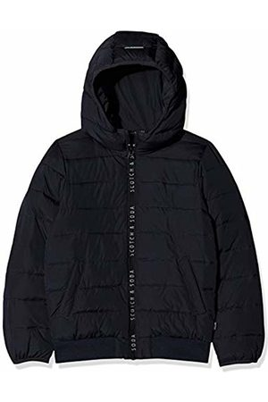 Scotch&Soda Boy's Hooded Padded Jacket in Jacquard Quality with Printed Zip