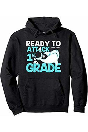 Envy Design Back To School Apparel Attack 1st Grade Shark Back To School Boys Gift kids Pullover Hoodie