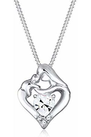 Elli Children's 925 Sterling Plated Mother and Child Heart Love Pendant with Necklace of Length 45 cm