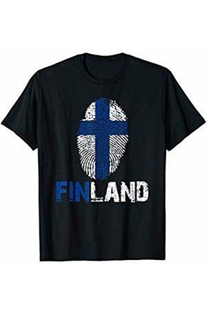 Vishtea FINLAND Finger Print Flag Tshirt I Love FINLAND Travel Tee T-Shirt