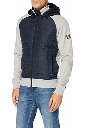 Tommy Hilfiger Men's Mixed Media Hooded Zip Through Sweatshirt, (Cloud HTR/Sky Captain 902)
