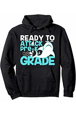 Envy Design Back To School Apparel Attack Pre-K Shark Back To School Boys Gift First Day Kids Pullover Hoodie