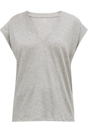 Frame Le Mid V-neck Cotton T-shirt - Womens