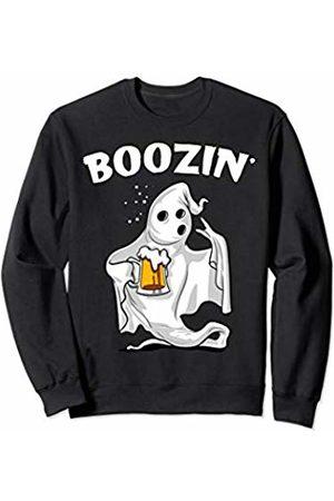 Funny Ghost Halloween Party Shirts Halloween Ghost Drinking Beer Party Boozin' Funny Men Women Sweatshirt