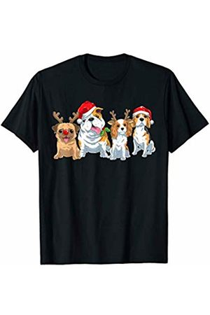 TheHolidayCouture Cute Christmas Reindeer and Santa Dogs T-Shirt