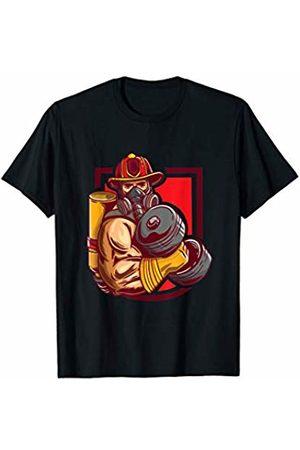 Firefighter Bodybuilding Shirts Mens Firefighter Weightlifting Shirt As Bodybuilder Workout T-Shirt