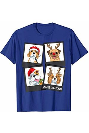 TheHolidayCouture Women T-shirts - Cute Christmas Reindeer and Santa Dogs Photo T-Shirt