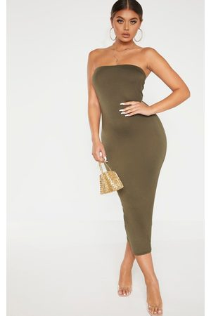 PRETTYLITTLETHING Khaki Bandeau Midaxi Dress