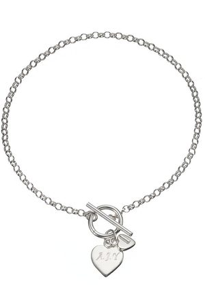 The Love Silver Collection Personalised Sterling Double Heart Drop T-Bar Bracelet
