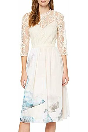 Little Mistress Women's Kaitlin Placement-Print Lace Midi Dress Party