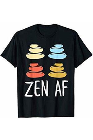 Moxio - Zen AF Funny Yoga Mediation Workout Rock Stacking Zen AF Retro Vintage Yoga Meditation T-Shirt