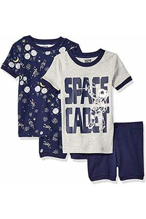 Spotted Zebra 4-piece Snug-fit Cotton Pajama Short Set Space Cadet, 12-18 Months