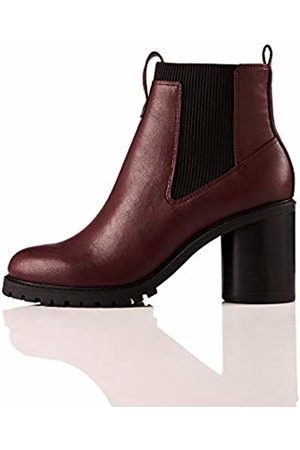 FIND Chunky Sole Chelsea Boots, Rot Burgundy)
