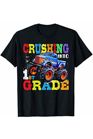 Funny First Day of School Shirt Cute Gift Students Crushing Into 1st Grade Shirt Monster Truck Back to School