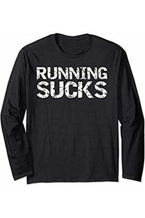 Cute Fitness Workout Design Studio Funny Run Workout Gift for Runners Men's Running Sucks Long Sleeve T-Shirt