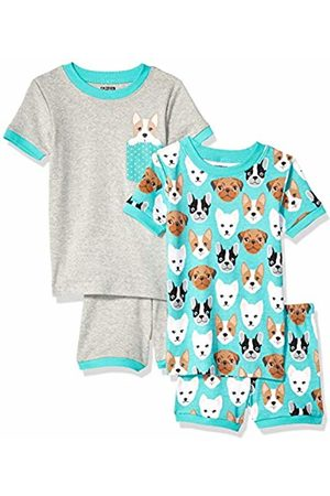 Spotted Zebra 4-piece Snug-fit Cotton Pajama Short Set Puppies, Small (6-7)