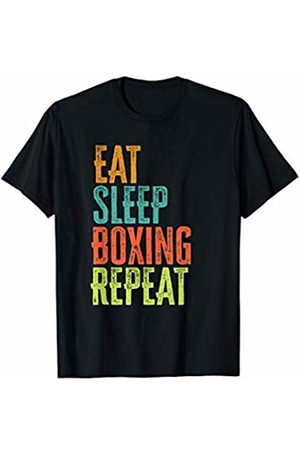 Vintage Sports Party Classic Epic Novelty Gifts Retro Eat Sleep Boxing Repeat Boxer Gym Ring Training Gloves T-Shirt