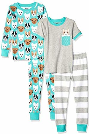Spotted Zebra 4-piece Snug-fit Cotton Pajama Set Puppies, 18-24 Months