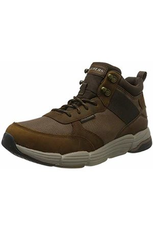 Skechers Men's METCO Hi-Top Trainers, (Dark Leather W/Mesh CDB)
