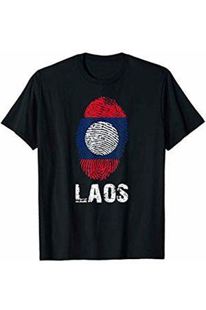 VISHTEA LAOS Finger Print Flag Tshirt I Love LAOS Travel Tee T-Shirt