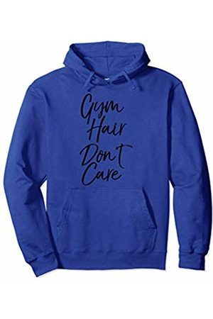 I Love Cheerleading & Gymnastics Design Studio Funny Workout Quote Apparel for Girls Gym Hair Don't Care Pullover Hoodie
