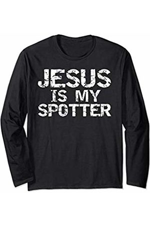 Cute Fitness Workout Design Studio Christian Workout for Men Distressed Jesus is My Spotter Long Sleeve T-Shirt