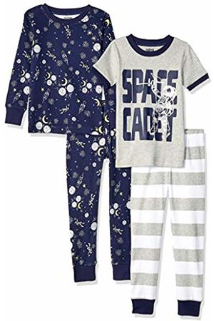Spotted Zebra 4-piece Snug-fit Cotton Pajama Set Space Cadet, Small (6-7)