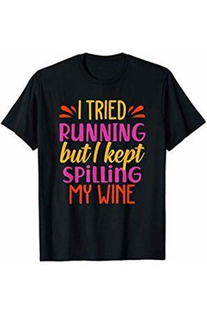 Funny Runner Motivational Running Gift Tees I Tried Running But I Kept Spilling My Wine T-Shirt